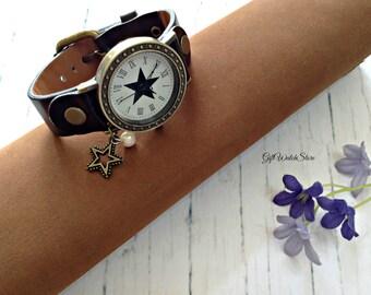"Retro Leather Watch, Leather Wrap Watch, Star Leather Bracelet Watch, Wrist Watch, Black Leather Watch, Vintage Leather Watch ""star"" charm"
