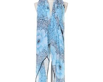 Womens Scarf, Blue Scarf, Leopard Print Scarf, Floral Print Scarf,  Fashion Scarf, Chiffon Scarf, Voile Scarf, Cotton Scarf