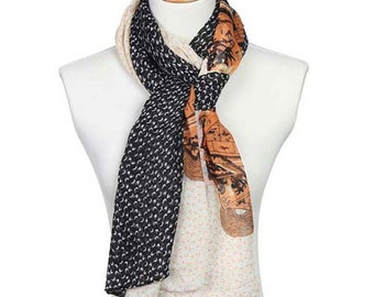 Womens Scarf, Floral Print Scarf, Brown Scarf, Black Scarf, White Scarf, Floral Scarf, Fashion Scarf, Chiffon Scarf, Cotton Scarf