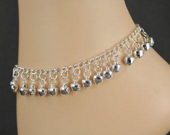 Jingly bells anklet ankle bracelet jingle bell adjustable silver tone