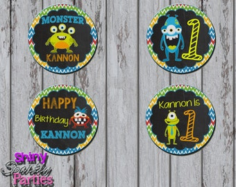 Printable MONSTER CUPCAKE TOPPERS - Little Monster Cupcake Toppers - Monster Party Circles - Little Monster Birthday Party Decoration