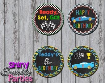Printable RACE CAR CUPCAKE Toppers - Racing Cupcake Toppers - Cars Party Circles - Race Car Party Circles - Race Car Birthday Party Decor