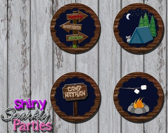 CAMPING PARTY DECOR - Camping Cupcake Toppers - Camping Birthday Decor - Camp Birthday - Party Circles - Camping Cake Toppers Decoration