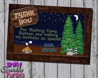 Printable CAMPING THANK You CARD - Camping Birthday Party Thank You Card - Camping Thank You Note - 4x6 Camping Thank You Card