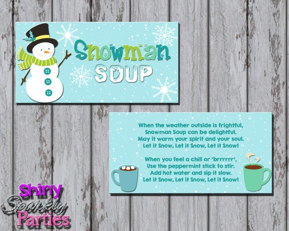Printable SNOWMAN SOUP Treat Bag TOPPERS - Snowman Treat Bag Toppers ...