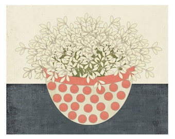 "Modern Folk Art Still Life Botanical Giclee Print ""Red Dot Bowl"""