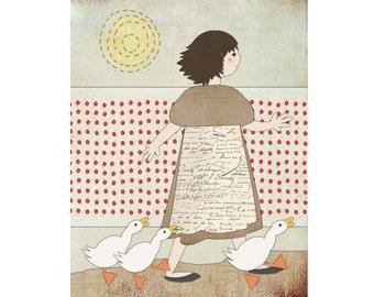 "Children's Giclee Folk Art Illustration ""A Very Fine Day"" 8"" x 10"" by Sunday Morning Studio"