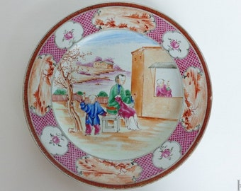 Chinese export porcelain. 18th century plate. Qianlong period. Famille Rose.