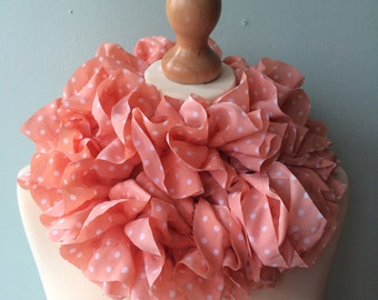 SALE! WAS 17.00 - hand knitted peach polka dot fabric ruffle scarf