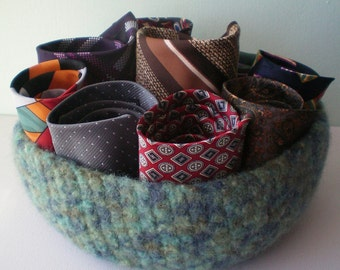 SALE - handmade crochet felted pure new wool bowl