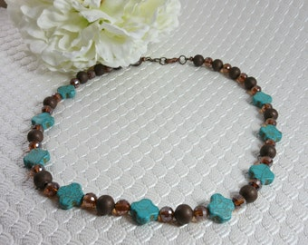 Turquoise and Amber Strung Necklace