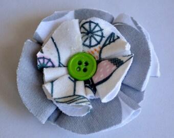 Owl and Polka Dot Fabric Flower Hair Clip Set