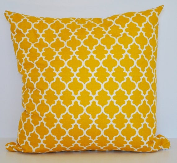 Mustard Throw Pillow Covers : Throw Pillow Cover Mustard Yellow & Eggshell Lattice by EpiDesigns