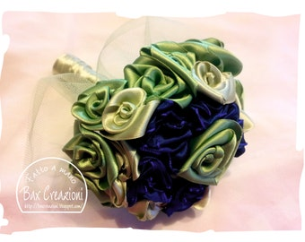 Alternative bouquet with handmade satin roses