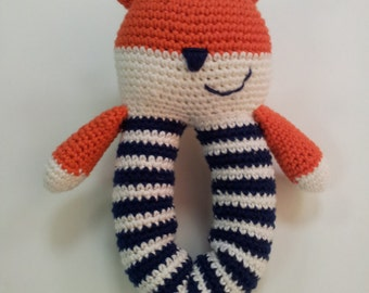 Baby toy Fox rattlte. Made with cotton yarn and polyester filling and rattle insert.