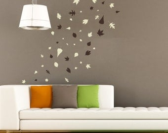 Autumn Leaves Blowing Wall Vinyl Sticker Decals (Set of 70) ~ Item 0146