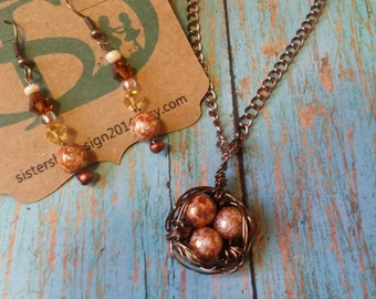 Handmade Wire Wrapped Bronze Birds Nest Necklace with matching Earrings