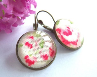 Bronze, bronze tone earrings glass cabochon fabric english rose red white green