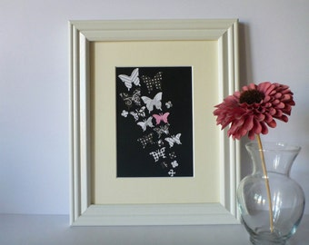 """Butterfly Paper Wall Art - Black, White with a Pop Pink, 8"""" x 10"""""""