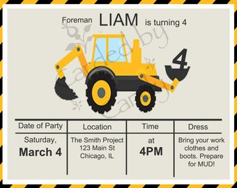 Construction/Front-loader Birthday Party Invitation 5x7