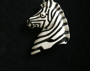 Vintage Plastic, Pin, Brooch, Zebra, Black and White