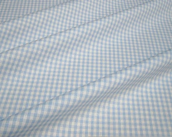 Fabric pure cotton Vichy check light blue white 2.5 mm