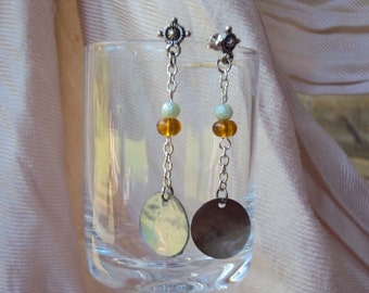 Green Pearl & Green Shell Dangles with a touch of Amber