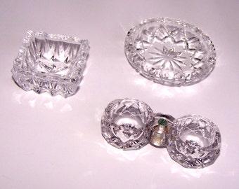 Three American Brilliant Cut Crystal Vintage Open Salts