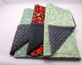 Baby Burpies {Burp Cloths} Set of 3 - Red Black Yellow Flowers + Soothing Graphic Greens