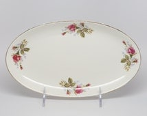 "1930's NASCO ""Moss Rose"" Oval Dish, Ceramic with Gold Trim"
