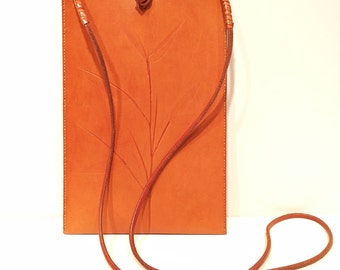 Brown Leather Shoulder Bag Purse w Bamboo by Bill Cleaver
