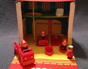 Sale! Rare 1970s Ideal Toys Firehouse with accessories