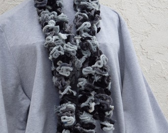 Truffle Scarf, Black, Gray, Silver 104 inches