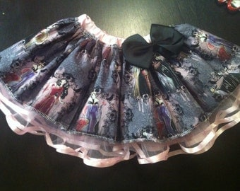 Light pink skirt with dark colorful disney villain fabric!