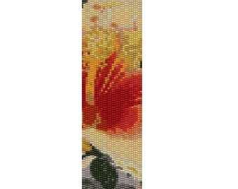 Peyote Bracelet Pattern Yellow Hibiscus