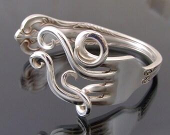 silver  plated fork bangle bracelet handmade vintage