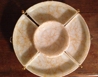 Vintage Midcentury Orange Drizzle Hazel Atlas Lazy Susan, Gorgeous!