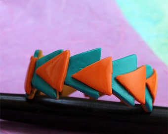 Triangle Bangle - Handmade Polymer Clay Bangle  - Green Bangle - Orange Bangle - Abstract Dynamic Triangles