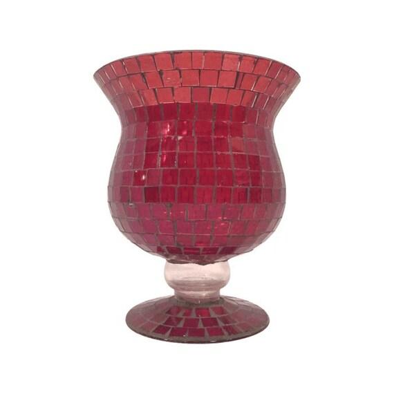 red footed vase large mosaic glass candle holder by picasovintage. Black Bedroom Furniture Sets. Home Design Ideas