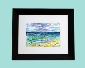 Seascape Sailing Painting. Original Acrylic Modern Art. Matte-Black Frame. Crookedman Studio/Ken Feldman.