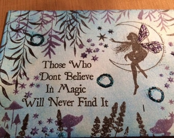Set of 4 handmade cards, blank inside, with envelopes (5.5x4) Fairy themed cards--varied