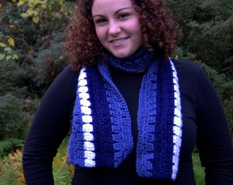 Blue and White Crochet Scarf SALE was 17.00 NOW 10.00!!
