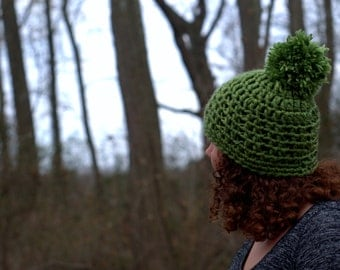 Crochet Green Chunky Beanie with Poof SALE was 17.00 now 10.00!!