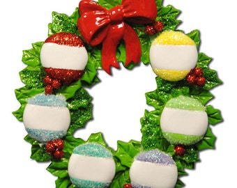 Personalized Wreath Family of 6 Christmas Ornament