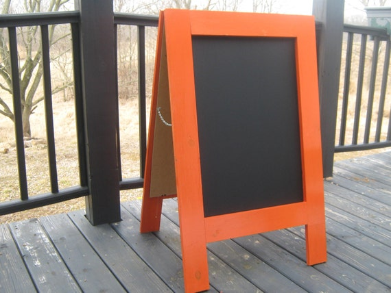 Sidewalk chalkboard two sided sandwich board business sign pumpkin orange double sided A frame wedding menu chalk board 40 x 25