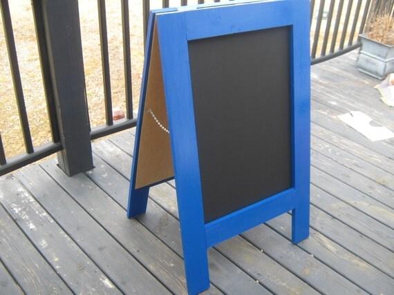 Double sided sandwich chalkboard sidewalk sign two sided A frame wedding business menu chalkboard.  40 x 25 inches  Dark blue