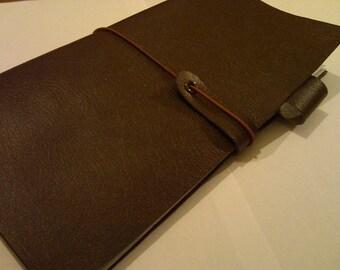 Traveler's Notebook Style Brown leatherette Japanese Midori-Regular Fit