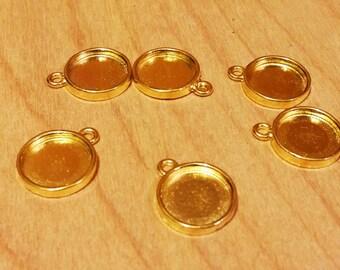 Gold tone 12 mm tray cabochon setting 6pcs