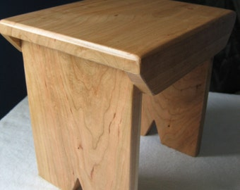 Cherry MINI version of the Small Handcrafted Solid  Hardwood Stool