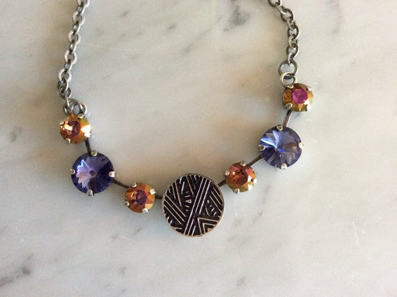 Deco Disc Necklace with Tanzanite and Mahogany Swarovski Crystals  in Antique Silver.     See Separate Listing for Earrings.